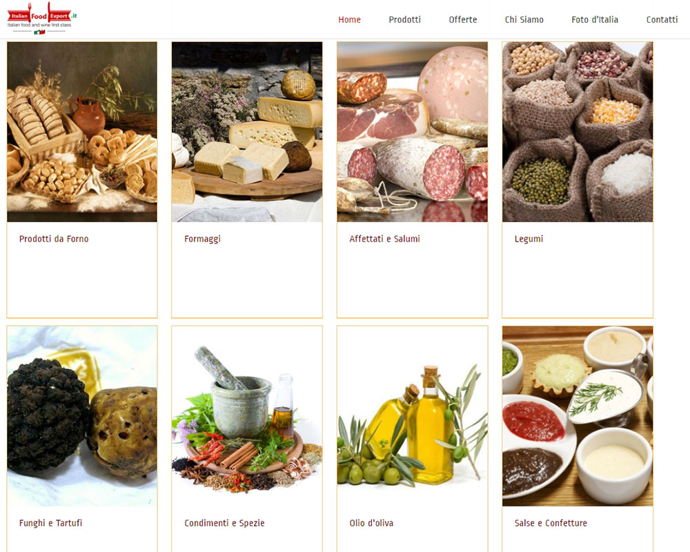 Italian Food Export - Sito Web Aziendale eCommerce
