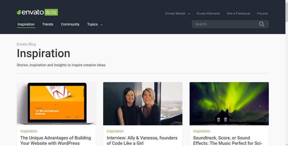 Envato Blog creato con WordPress