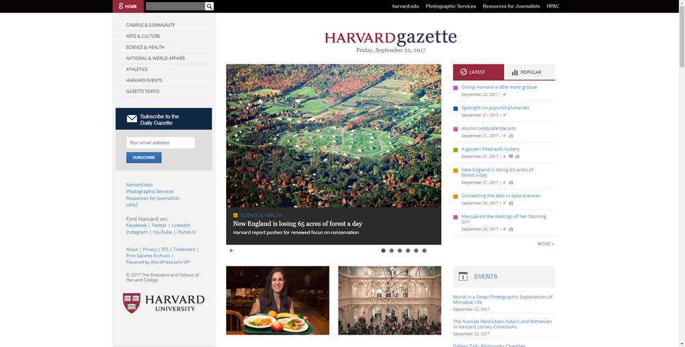 Harvard Gazette creato con WordPress