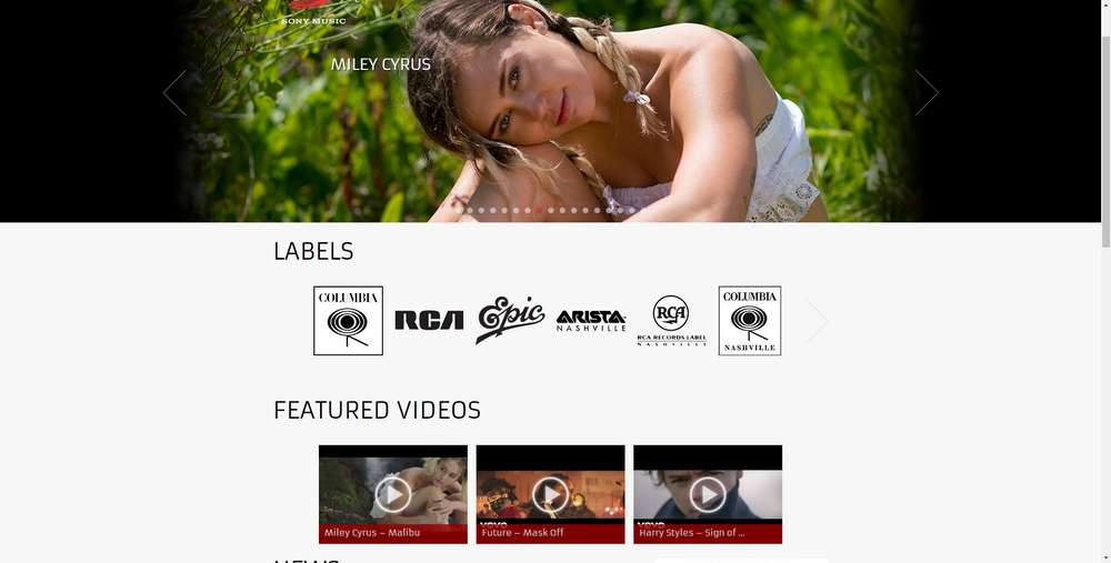 Sony Music creato con WordPress
