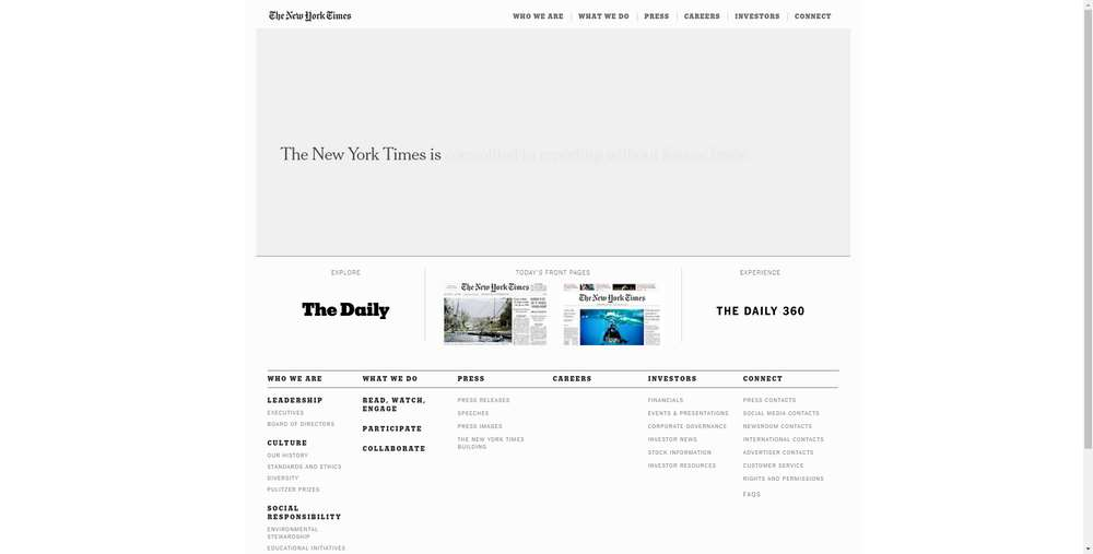 The New York Times creato con WordPress