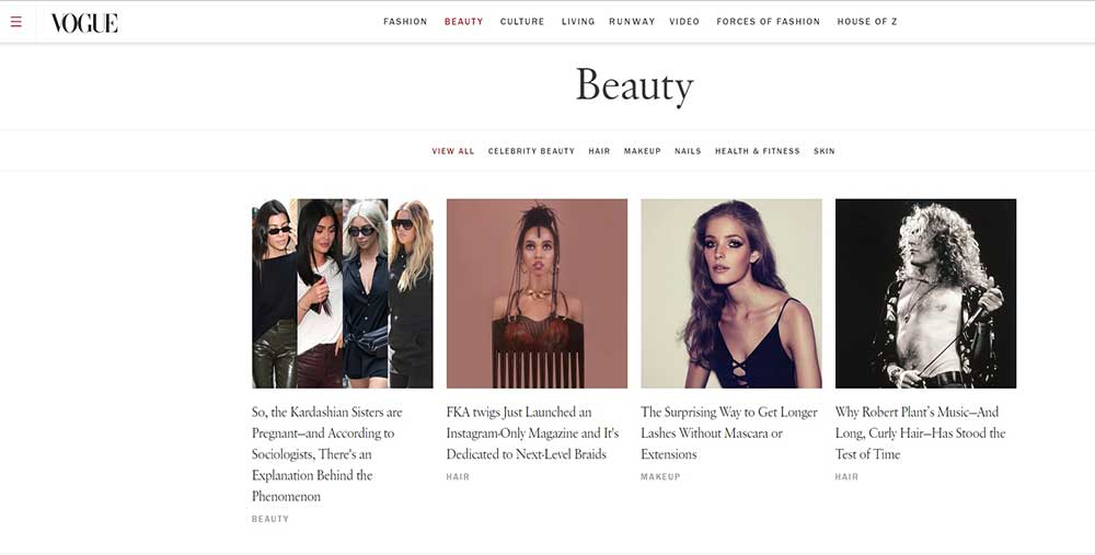 Vogue creato con WordPress