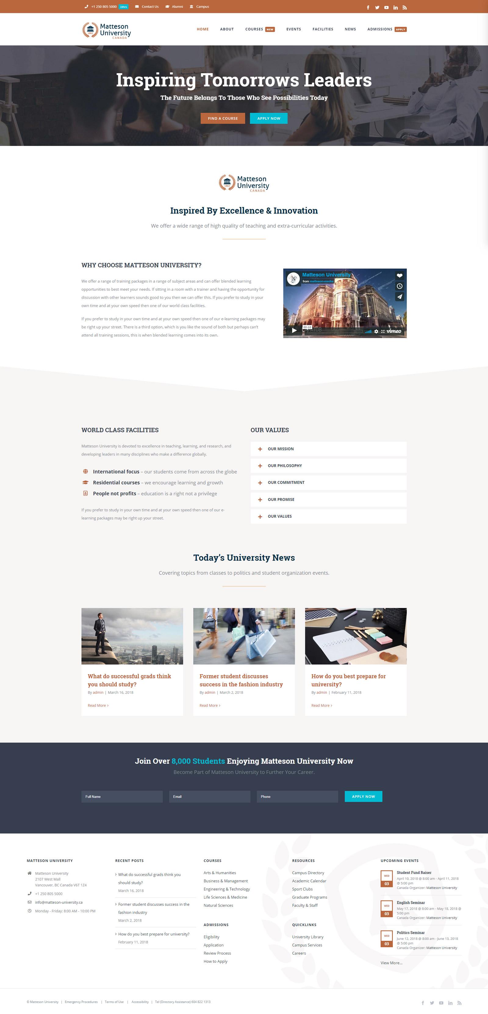Sito Web per Università e Istituto di Formazione